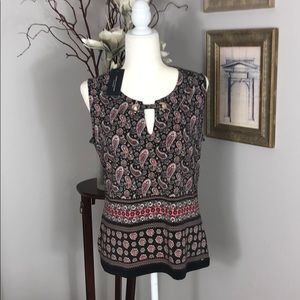 NWT Tommy Hilfiger sleeveless blouse, Brown/salmon